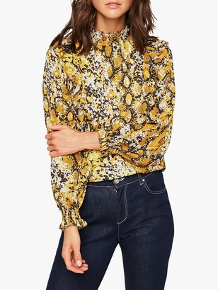 Damsel in a Dress Naia Snake Print Blouse, Yellow/Multi