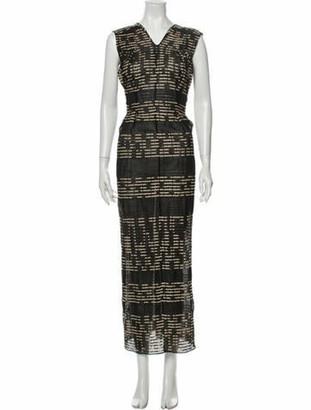 Zero Maria Cornejo Striped Long Dress Black