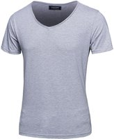 uxcell® Men Deep V Neck Light Weight Basic Short Sleeves T-shirt M Grey