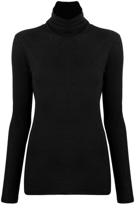 Closed roll-neck long-sleeve T-shirt