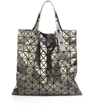 Bao Bao Issey Miyake Platinum Faux Patent Leather Tote