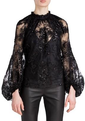 UNTTLD Lolita Lace Blouson-Sleeve Top