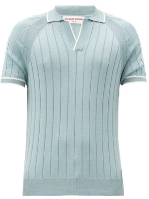 Orlebar Brown Deco Rib-knitted Cotton And Silk Polo Shirt - Light Green