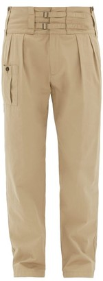 Dolce & Gabbana Buckled-waist Double-pleat Cotton Trousers - Mens - Beige