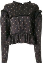 Preen by Thornton Bregazzi monogram print ruffled blouse