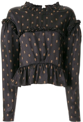 Preen by Thornton Bregazzi Monogram Print Ruffled Blouse