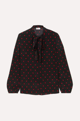 RED Valentino Pussy-bow Printed Silk Crepe De Chine Blouse - Black
