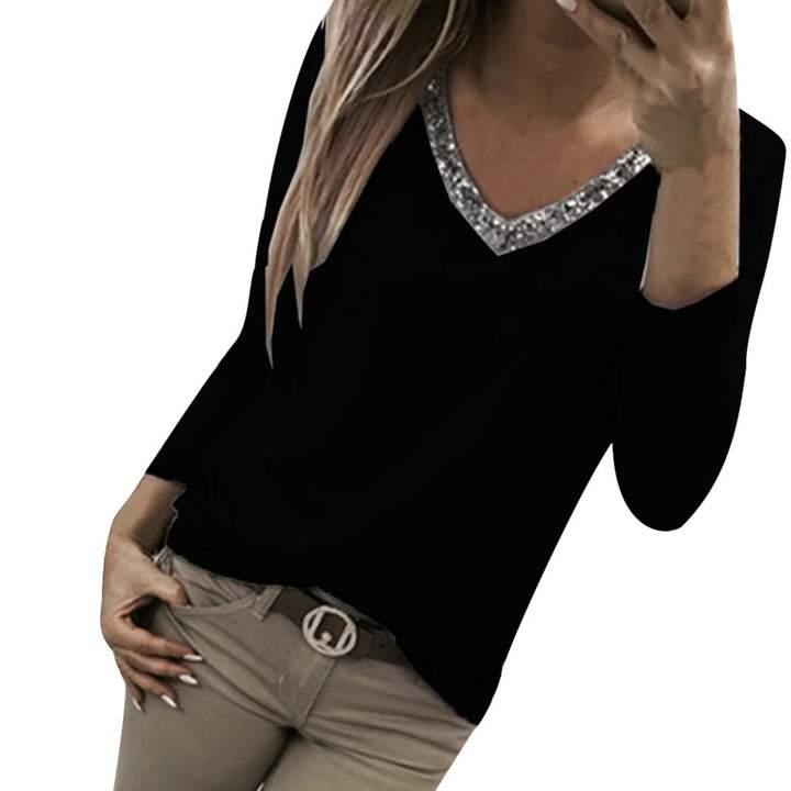 f7f4dcf0fb17b8 iZHH Womens Casual Applique Flowy Chiffon V-Neck Long Sleeve Blouse Tops  Active Clothing