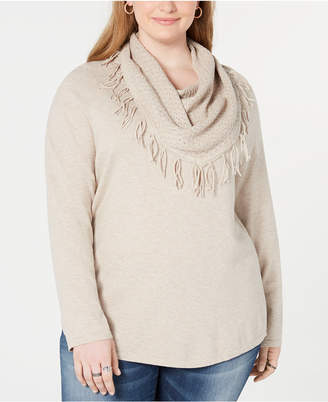 Style&Co. Style & Co Plus Size Fringed Cowl-Neck Sweater