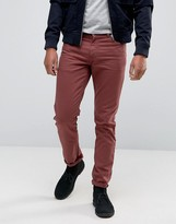 Asos Skinny Jeans In Burgundy