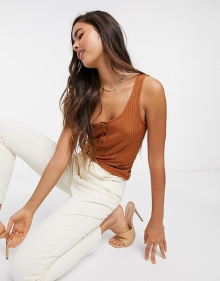 Gestuz Rollo button front tank top in brown