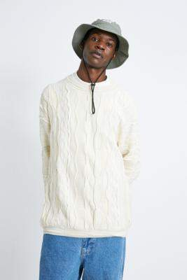 Urban Outfitters Cream Textured Stitched Crew Neck Jumper - white S at