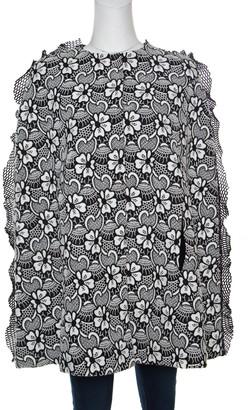 Ungaro Monochrome Floral Macrame Lace Cape Style Jacket S
