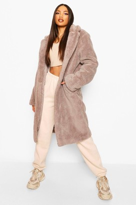 boohoo Tall Longline Faux Fur Double Breasted Coat