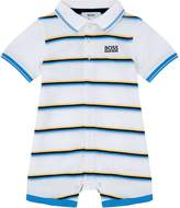HUGO BOSS Striped Polo Playsuit, White, 9 Months