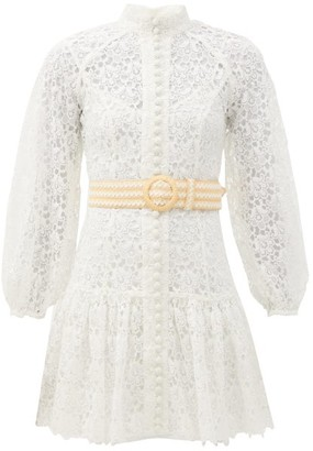 Zimmermann Empire Belted Guipure-lace Mini Dress - Ivory