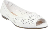 Yours Clothing White Peep Toe Ballerina Pumps With Diamante And Cut Out Detail In EEE Fit