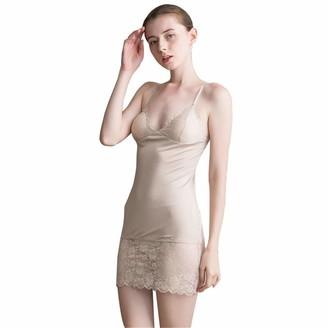 Hoffen Women's Silk Adjustable Spaghetti StrapsFull Slip Sleepwear Lace Petticoat Underdress with Bra (XL