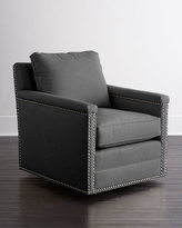 Horchow Avis St. Clair Charcoal Tweed Swivel Chair