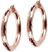 "Bronzo Italia 1-1/2"" Round Diamond Cut Hoop Earrings"