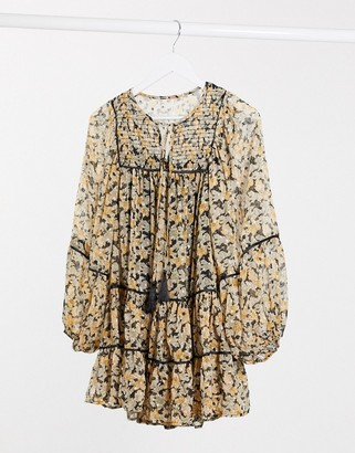 Free People swing mini dress in paisley