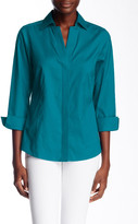 Foxcroft Emily 3/4 Length Sleeve Solid Stretch Blouse