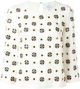 Diane von Furstenberg geometric pattern embellished blouse