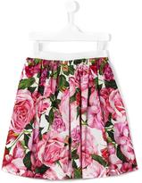 Dolce & Gabbana rose print skirt - kids - Cotton - 12 yrs