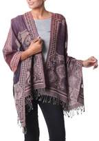 Lilac and Burgundy Geometric Jamawar Style Wool Shawl, 'Exotic Wine'