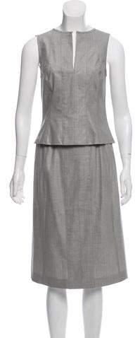 Sleeveless Wool Skirt Set