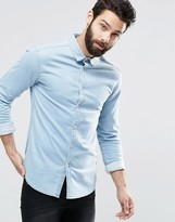 Asos Super Skinny Denim Shirt in Bleach Wash with Long Sleeves