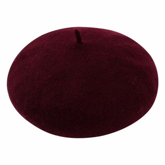 Cckuu Beret British Style Girls Beret Lady Solid Color Slouchy Winter Beret Women(Burgundy)