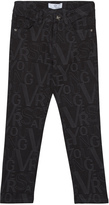 Versace Black Lettering Printed Slim Fit Jeans
