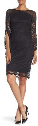 Marina Lace Mesh Panel Midi Dress