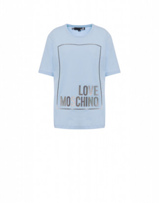 Love Moschino Jersey T-shirt With Iridescent Logo Woman Blue Size 38 It - (4 Us)