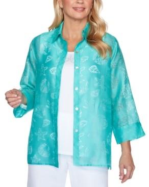 Alfred Dunner Miami Beach Sheer Shell Print Button-Down Shirt
