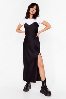 Nasty Gal Womens Chain-ge the Dynamics Satin Maxi Dress - Black - 4
