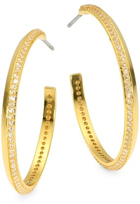Kate Spade Raise The Bar 12K Yellow Goldplated & Cubic Zirconia Pave Hoop Earrings