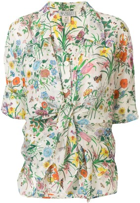 Gucci Pre Owned Silk Front Tie Floral Blouse