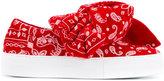 Joshua Sanders Bow Embellished Bandana Wool Felt Sneakers