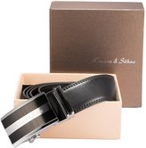 K&S KS Men's Luxury Genuine Leather Belt Sliding Automatic Lock Alloy Buckle KB005