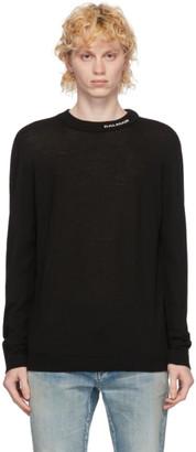 Balmain Black Wool Logo Crewneck Pullover