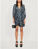 BA&SH Ginger metallic leopard-print silk-blend dress