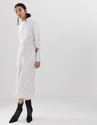 ASOS grid print dress with ruched front detail