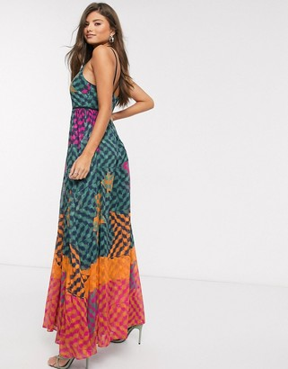 Ted Baker zohzoh pinata high neck maxi dress in olive