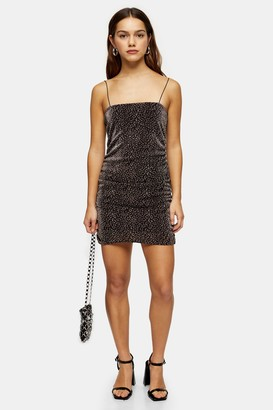 Topshop PETITE Gold Glitter Metallic Thread Dress