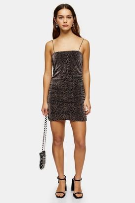 Topshop Womens Petite Gold Glitter Metallic Thread Dress - Gold