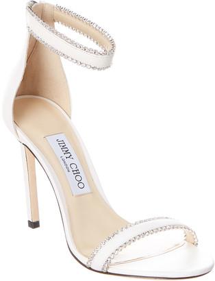 Jimmy Choo Dochas 100 Jewel Trim Leather Sandal