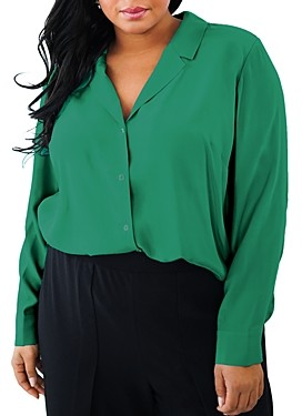 Maree Pour Toi Plus Silk Collared Blouse