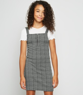 New Look Girls Light Check Zip Pinafore Dress
